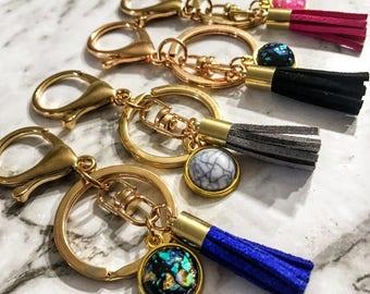 Tassel Keychain, Gold Tassel Keyring, Gold Tassel Keychain, Gold Foil Keychain, Boho Tassel Key Chain