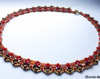 Red and gold pinnacle necklace necklace Beaded necklace Red necklace Tila necklace Christmas gift Gift for her