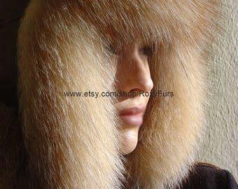 Russian style Fox Fur Hat Ushanka Chapka Trapper Hat