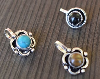 3 Pcs Turquoise, Tiger Eye, Black Onyx Nose Stud | Round cabochon stone nose stud | Valentines day jewelry nose stud | Silver Plated | NS5