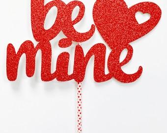 Be mine heart cake topper