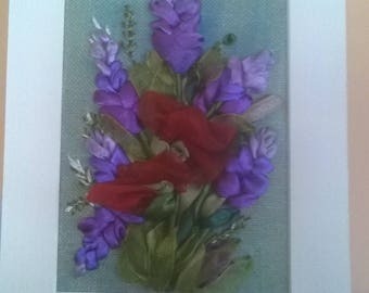 Embroidered card.Ribbon embroidery.Field flowers.For any occasion.Gift.
