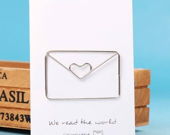 Silver letter bookmark envelope