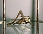 Vintage Lucky Brass Cricket Decor / Brass Grasshopper Paperweight