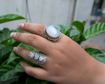 Natural Rainbow Moonstone Gemstone Pure 925 Sterling Silver Ring, Healing Ring, Boho Ring, Blue Flash Moonstone Ring, Gypsy Ring