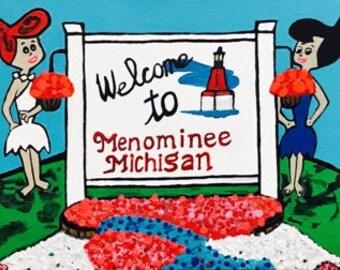 Welcome to Menominee Michigan. Flintstones vacation to Menominee. 16x20 original acrylic painting on canvas. Wilma Flintstone painting. Art.