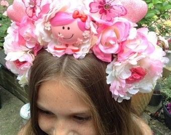 Cute Pink Little Miss Sparkle Heart Flower Crown