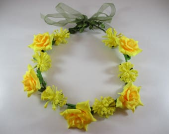 Crown flower, headband, wedding, yellow colors.