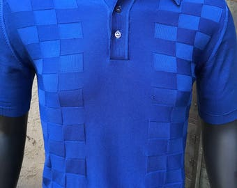 70's Royal Blue Knit Polo Shirt, Polyester Blend, Made in the USA, Small