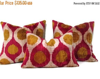 20%off Mustard Ikat Pillow, Red Ikat Pillow, Mustard Ikat Pillow Cover, Red Ikat Decorative Pillow, Mustard Ikat Couch Pillow, Red Ikat Sofa