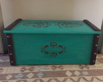 Teal and black wooden trunk- local pick up/delivery only