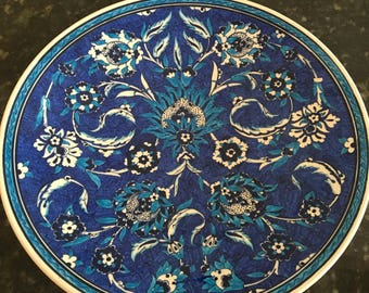 Cobalt and turquoise hand painted platter, vintage from Turkey, signed on reverse
