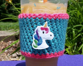 Unicorn coffee cozy, coffee sleeve, to go sleeve, cozy gift, coffee lovers