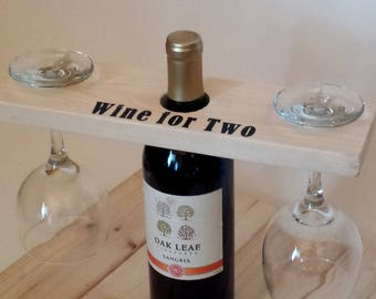 Bottle Butler, Wine Carrier, Wine Caddy, Personalized Wine Caddy, Wine Server, Rustic Wine Caddy, Wine Glass Rack, Personalized Gift,