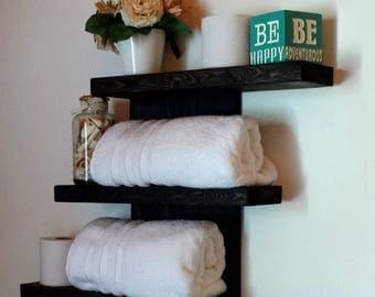 Wall Shelf, Dorm Decor, Three Tier Shelf, Rustic Floating Shelf, Towel Rack, Bathroom Shelf, Wood Shelf, Bathroom Storage, Shabby Chic Decor