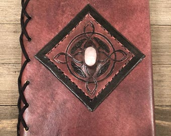 Refillable Leather Journal A5 with Stone Inlay - Makes a Great Journal Gift! - Mother's Day Gift - Gift for Grads!