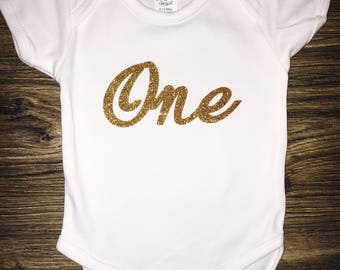 "Glitter ""ONE"" first birthday outfit"
