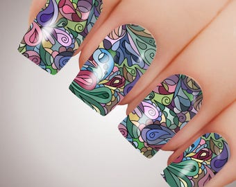 Painted Glass - ULTIMATE COLLECTION - Full Nail Decal Water Transfer Tattoo #5072