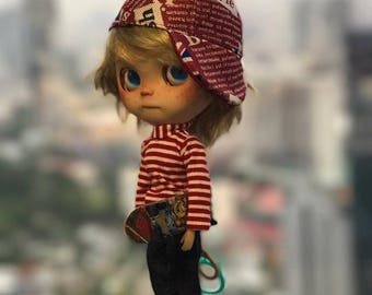 Blythe  Jeans +  Red T-Shirt + Cap and Skate Board for blythe