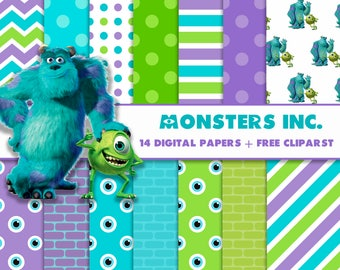 14 DIGITAL PAPERS Monsters Inc university + Free Cliparts PNG, birthday
