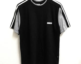 RARE!!! Adidas Equipment Small Logo Embroidery 3 Stripes SpellOut Crew Neck T-Shirts L Size