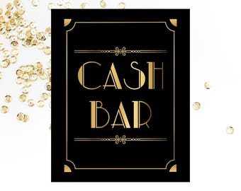 cash bar printable sign bar sign roaring 20s wedding bar sign