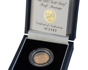 1997 Royal Mint Half Gold Proof Sovereign 20th Birthday present - Complete with box and certificate