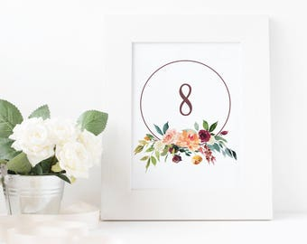 No. TN12 | Table Numbers | 1 - 20 | Wedding, Party or Reception | PDF | JPG | DIY | Printable | Instant Download