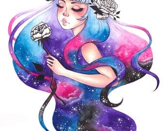 Galaxy Girl Print A4