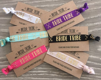 Bride Tribe wristbands / hair ties / hair elastics / bracelets / hen party bachelorette favour