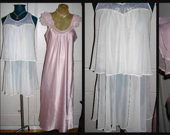 Original vintage 1990's (2 garments) white chiffon/lace baby doll nightie & pink satin/chiffon nightgown by Oscar de la Renta PINK LABEL MD.