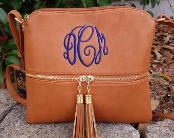 Tan Double tassel zipper cross body bag, Monogrammed cross body, personalized purse