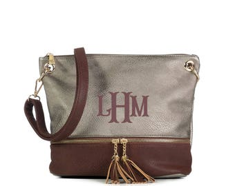 Monogrammed 2 toned zippered tassel Cross body - Pewter/Coffee-Personalized purse