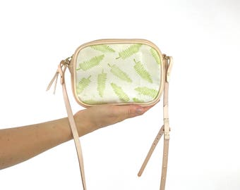 Small Leather Crossbody Bag / Real Leather Satchel Bag /  Evening bag / Fern Leaf Print / Mini Leather Cross body / Vegetable Tan Leather
