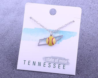 Customizable! State of Mine: Tennessee Softball Enamel Necklace - Great Softball Gift!