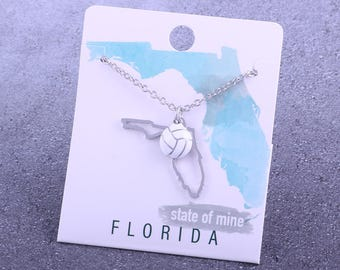 Customizable! State of Mine: Florida Volleyball Enamel Necklace - Great Volleyball Gift!