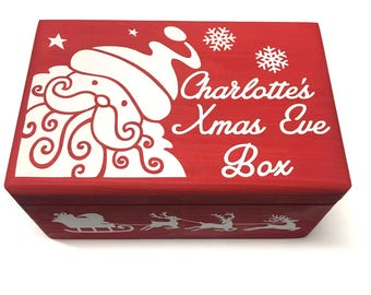 Personalised Wooden Christmas Eve Box, Custom Printed Xmas Crate, Children's Night Before Christmas Box. Personalised Keepsake Box With Name