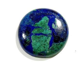 43Ct Azurite Malachite Cabochon Loose Gemstone Round Shape Excellent!!! Azurite Stone - Azurite Cabochons Top Quality Natural Gems 28X28X6mm