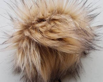 The GOLDEN pom pom // Faux fur pom poms, handmade hat accessory, cruelty free fur, large pom poms, 5 inch