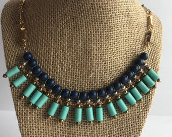 Teal and Dark Blue Necklace, Teal and Dark Blue Statement Necklace, Teal and Dark Blue Bib Necklace