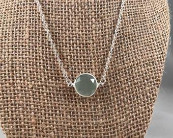 Sea Green Circle Necklace, Sea Green Charm Necklace, Sea Green Necklace