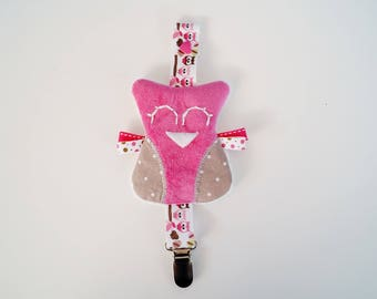 Pink and beige OWL pacifier