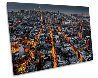 Streets of New York City CANVAS WALL ART Framed Picture Print