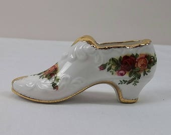 Royal Albert Old Country Roses Boot Ornament Bone China England