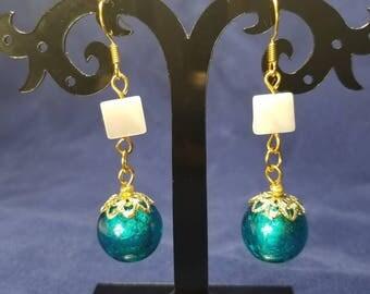 Blue Foil Glass/Pearl Earrings #MM3311