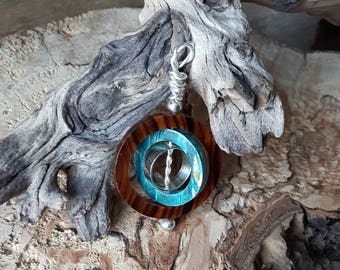 Silver pendant with Ironwood and box Elder Burl