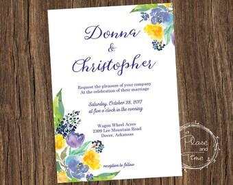 Blue Floral Wedding Invitation