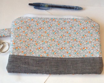 Custom makeup bag accessories pouch personalized jewelry pouch cosmetic bag sunglasses pouch  - denim & floral pouch designer fabric