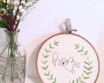 "Home Embroidery Hoop, 6"" Hoop, Embroidery Art, Wall Hanging"