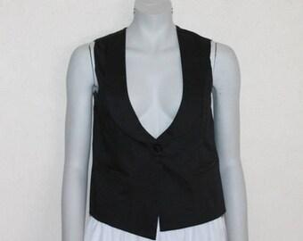 Women's Vest Black Vest Black Womens Vest Steampunk Waistcoat Formal Fitted Edwardian Renaissance Baroque Victorian Suit Collar Medium Size